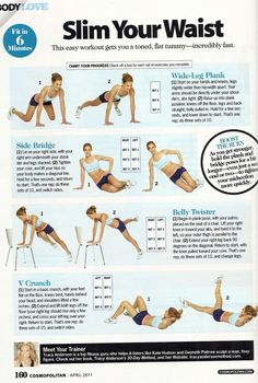 Slim Waist Workout - these are good reminders of how to target the mid section
