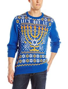 Hybrid Mens Lets Get Lit Sweater Blue XXLarge -- Check out this great product. (This is an affiliate link) #ChristmasMensFashion