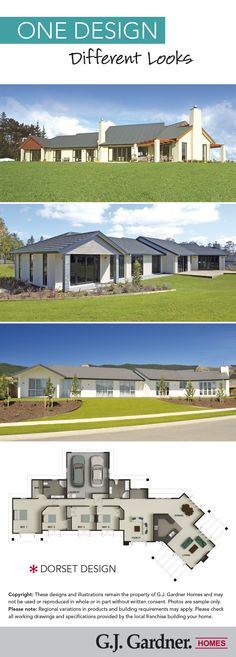 Here the G.J. Dorset house plan is shown in three different exterior looks. Which of the three is your favourite?