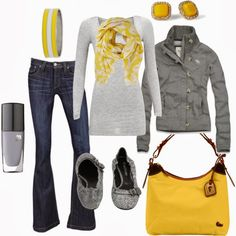 Get Inspired by Fashion: Casual Outfits | Gray and Yellow find more women fashion on misspool.com