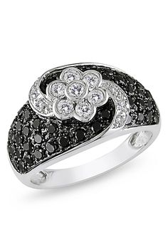 1.2Ct Black And White Diamond Ring In 14k White Gold