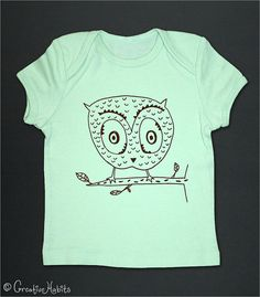 Owen Owl Baby Tee Shirt  drawing hand screen printed by chclothing, $17.00