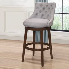 Hillsdale Furniture Halbrooke Swivel Bar Height Stool - Overstock - 14078943 - Chocolate and Cream - Bar Height - 29-32 in. Counter Stools With Backs, Stools For Kitchen Island, Swivel Counter Stools, Bar Counter, Kitchen Islands, Hillsdale Furniture, Bar Seating, Wood Stool, Foot Rest