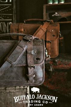 This men's leather briefcase bag is a rugged briefcase for a rugged man. Whether rugged is his fashion or his mindset, this bag will suit him well. For work or travel. Briefcase For Men, Leather Briefcase, Leather Backpack, Leather Men, Brown Leather, Leather Bags, Rugged Men, Best Gifts For Men, Jackson