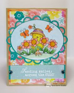Whimsy and Stars Studio digital stamps and rubber stamps. Springtime handmade card, Thinking of you card. Card by Suzanne. Digi Stamp from Whimsy and Stars Studio