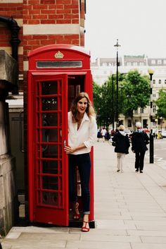 Classic Look: jens, white shirt and red heels. Shot in South Kensington, London