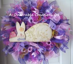 Shabby Chic Bunny..Deco Mesh Wreath..Polka Dots and Burlap Gingham Ribbons by ADoorableCreations05 on Etsy https://www.etsy.com/listing/123011868/shabby-chic-bunnydeco-mesh-wreathpolka