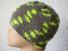 Men's grey neon yellow knit beanie hat skull cap.....