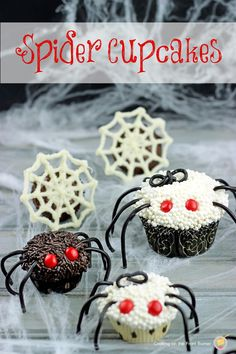 I love the choc spider webs in the back. Would be cute of top of a Reeses peanut buttercup or cupcake