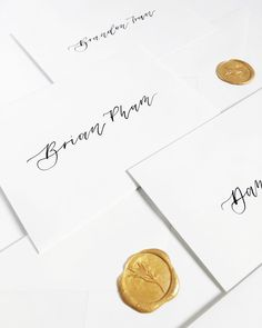 classic black ink on white envelopes with gold wax seals Sumi Ink, Wax Seals, White Envelopes, Wedding Invitations, Blush, Place Card Holders, Letters, Classic, Gold