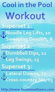 pool workout Swimming Pool Exercises, Water Aerobic Exercises, Pool Workout, Water Workouts, Floor Exercises, Butt Workout, Pool Weights, Intex Pool, Water Aerobics