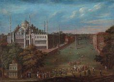 18.yy at meydanı.Ressam Jean Baptiste Van Mour.Resmin orijinali Pera Müzesinde görülebilir