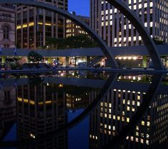 Toronto City Hall pond in the night time Toronto City, Toronto Canada, Toronto Photos, Sydney Harbour Bridge, Night Time, Ontario, Pond, Hockey, Carnival
