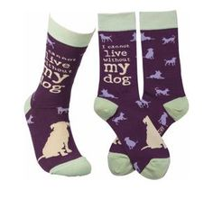"""Colorfully printed socks lending an """"I Cannot Live Without My Dog"""" sentiment with various dog silhouette designs. One size fits most. Dimensions: One Size Fits Most Material: Cotton, Nylon, Spandex Dog Silhouette, Silhouette Design, Dog Socks, Crew Socks, Without Me, Dog Pin, German Shepherd Puppies, German Shepherds, Novelty Socks"""