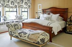The fabric Mele and the homeowner fell in love with for the master bedroom is Jules et Jim by Clarence House.