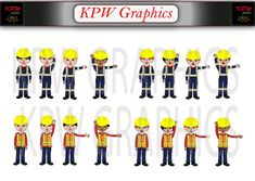 Male and Female Dolls Construction Site Clipart Set by KPWgraphics