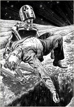 "by Ariadna Zierold Virgil Finlay was an American pulp fantasy, science fiction and horror illustrator. He has been called ""part of the pulp magazine Science Fiction Kunst, Science Fiction Magazines, Arte Sci Fi, Sci Fi Art, Art Pulp, Sci Fi Kunst, Beside Still Waters, Retro Robot, Vintage Robots"