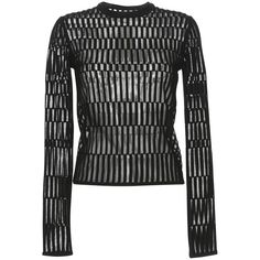 MUGLER Long Sleeve Wool Pullover (€1.015) ❤ liked on Polyvore featuring tops, sweaters, wool crewneck sweater, graphic sweaters, black long sleeve sweater, crew neck sweaters and black sweater