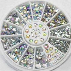 4 Size 300pcs Nail Art Tips Crystal Glitter Rhinestone Decoration