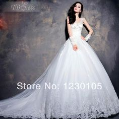 2014 wedding dress A Line Beaded  Applique Organza marriage Custom-made Luxury Royal White / Ivory $168.00