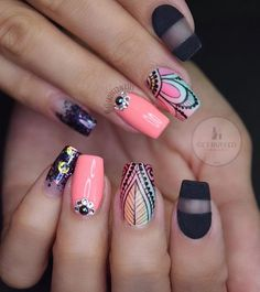 On this list of 80 stylish acrylic nail designs, you will find everything starting from confectionary nails to glittering designs to marble effect ones. Best Acrylic Nails, Acrylic Nail Designs, Nail Art Designs, Nails Design, Sexy Nails, Love Nails, Gorgeous Nails, Pretty Nails, Acryl Nails