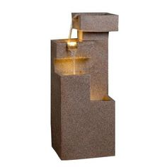 "34.8""h $215.24 Fountain Cellar Sand Stone Cascade Tires Outdoor/Indoor Lighted Fountain-FCL039 - The Home Depot"
