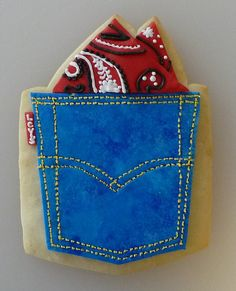 Levis Wrangler jeans pocket and red bandana / handkerchief iced decorated cookie  #cowboy