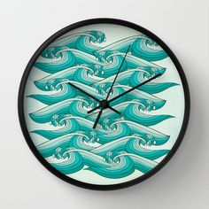 Ocean Vibes Wall Clock #wallclock #homedecor #decor #accentdecor #seawaves #waves #nautical #nauticaldecor #turquoise #teal #clock #forthehome #retro #retrodecor