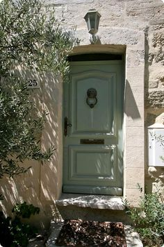 Beautiful heavy moulding surrounding the raised panels with a slight arched panel.... and then that color so Provence