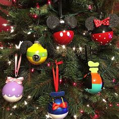 Disney Character Inspired Glass Holiday Ornaments Handpainted Etsy Happy New Year Disney Christmas Crafts, Mickey Mouse Christmas Tree, Disney Christmas Decorations, Christmas Ornament Crafts, Christmas Tree Themes, Noel Christmas, Holiday Ornaments, Disney Crafts, Holiday Tree
