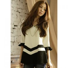 Sweet Splicing Color Cutting Falbala Cotton Blend Women's T-Shirt, AS THE PICTURE, ONE SIZE in Tees & T-Shirts   DressLily.com