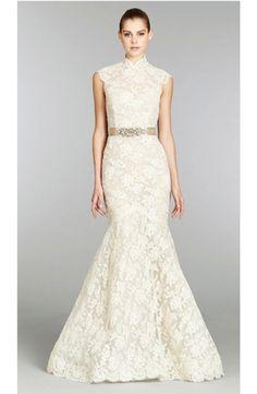 Bridal Gowns: Lazaro Mermaid Wedding Dress with High Neck Neckline and Natural Waist Waistline