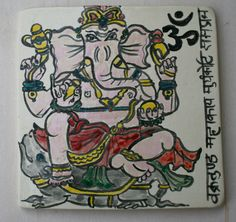 Hand cut & hand painted Hindu Ganesh tile with sanskrit Ganesh mantra by Marie Wingate @ earthforms by marie.