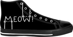 MEOW! Black and white high tops, funny vector cats, animals themed shoes design - for more art and design be sure to visit www.casemiroarts.com, item printed by RageOn at www.rageon.com/a/users/casemiroarts - also available at www.casemiroarts.com -This product is hand made and made on-demand. Expect delivery to US in 11-20 business days (international 14-30 business days). #sneakers #clothing #style #shoes #hightops #fashion