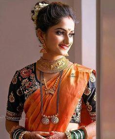 Photo by shivshahi yeola paithani on May Image may contain: 1 person Bridal Hairstyle Indian Wedding, Bridal Hair Buns, Indian Bridal Outfits, Indian Bridal Fashion, Wedding Outfits, Wedding Costumes, Wedding Dresses, Maharashtrian Saree, Marathi Saree