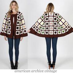 Vintage 70s Granny Knit squares coat jacket by americanarchive, $78.00