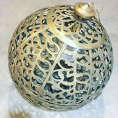 Add some amazing MCM character with this lattice work solid brass Asian pendant globe!