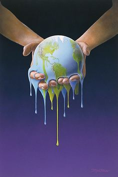 This photograph is of human hands holding the earth while it is melting.  The image is a symbol for what humans are doing to the earth slowly.  It shows that humans are in complete control of the earth however they are slowly destroying it.  Soon there will be nothing left.