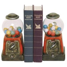 Oh fun! Candy treasure gumball bookends, $72 from Amazon.