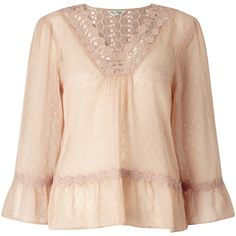 Miss Selfridge Dobby Blouse, Oyster ($46) ❤ liked on Polyvore featuring tops, blouses, sleeve blouse, pink blouse, lace detail top, miss selfridge and round neck top