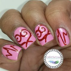 Leesha's Lacquer Sweet Passion, Barielle Pink Parasol, Twinkled T swirl and heartbeat stencils