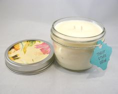 Island Coconut Candle Hand-Poured into Half-Pint Mason Jar - Soy Wax Half Pint Mason Jars, Pint Jar, Mason Jar Candles, Soy Wax Candles, Coconut, Island, Unique Jewelry, Handmade Gifts, Etsy