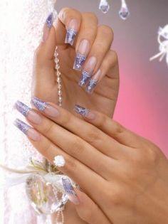 Purple French textured snakeskin wedding nails. Bridal nails, long nails, acrylic, lavender, bride, professional, International Nailxpert Group, Kyoung Hee, Lee, Nailpro Magazine.