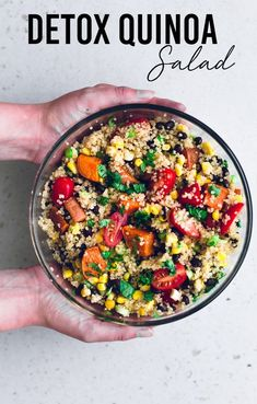 Vegan Detox Quinoa Salad - a healthy, vibrant and delicious salad studded with lots of veggies and dressed in a Lime and Cumin Dressing. Gluten Free. #vegan #healthy #healthyrecipes #quinoa #blackbean #lime #detox #veggies