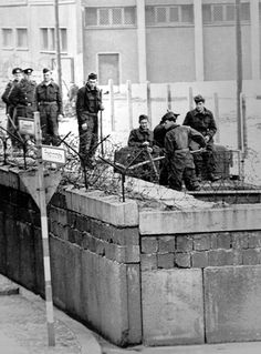 On August 13 work began on the Berlin Wall. On 23 August, almost no citizens could pass between East and West Berlin. East Germany, Berlin Germany, Google Earth Images, Berlin Hauptstadt, Photo Pa, Checkpoint Charlie, Berlin Wall, Iron Wall, Life Photo