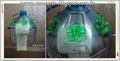 Porta papel higiênico pet - galão de água - as flores são de garrafas pet pequena