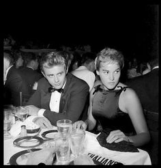 James Dean and Ursula Andress September 1, 1955 at Ciro's in Hollywood.