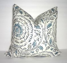 Blue & Grey Floral Print Pillow Covers Decorative by HomeLiving