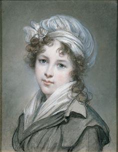 Marie Louise Elisabeth Vigee-Lebrun (French artist, Elizabeth Self-Portrait with Her Daughter Julie 1789 Attributed to Ma. Portraits Pastel, L'art Du Portrait, Female Painters, Elisabeth, Turbans, Expo, Pastel Art, French Artists, Female Art