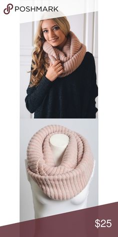 "Ribbed Knit Infinity Scarf This listing is for pink. Sooo adorable and comfy! 100% acrylic. 30"" x 15.5""  Also available in Ivory, gray, and mint. Accessories Scarves & Wraps"